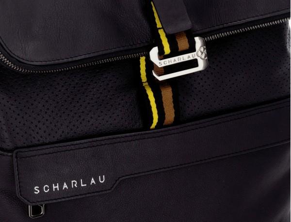 mochila de piel negra para portátil solapa