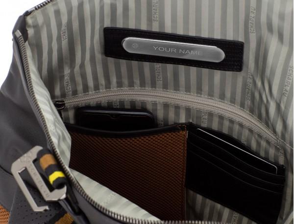 mochila de piel negra para portátil personalizada