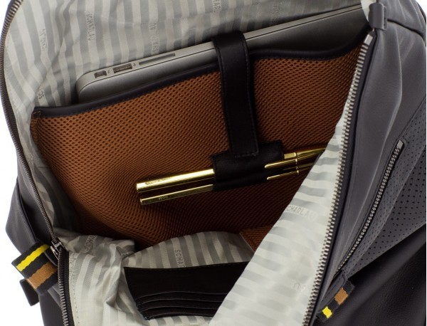 leather laptop backpack in black open