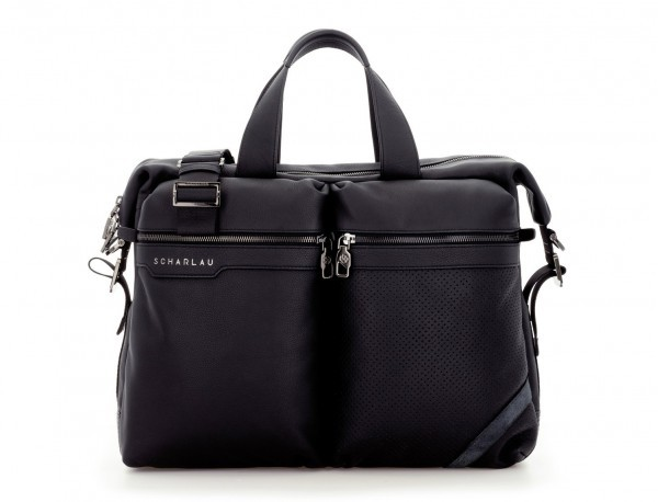 leather men briefcase in black front