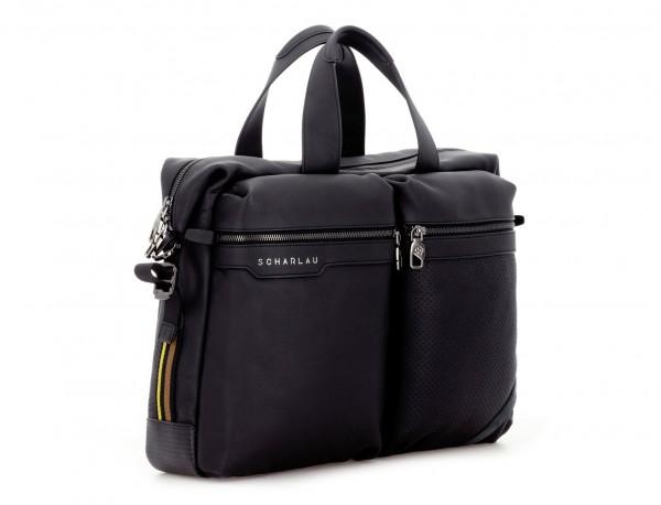 leather men briefcase in black side
