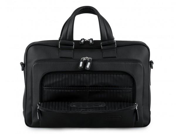 maletin ejecutivo de cuero en color todo negro bolsillos