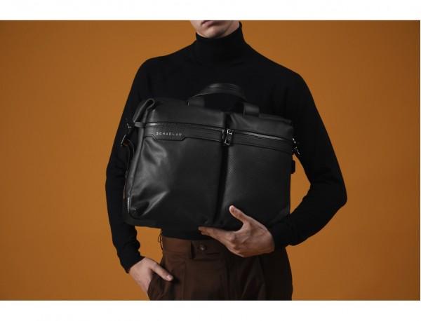 leather men briefcase in black model