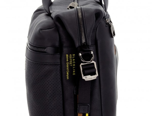 leather men briefcase in black detail