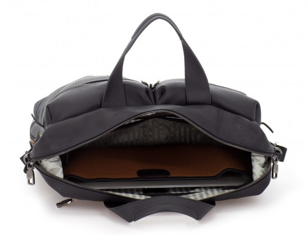 leather men briefcase in black laptop
