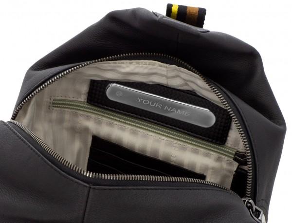 bolso bandolera de cuero negro personalizado