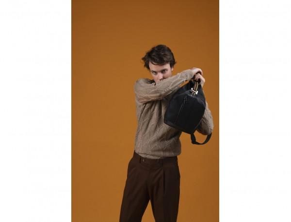 bolso bandolera de cuero negro modelo