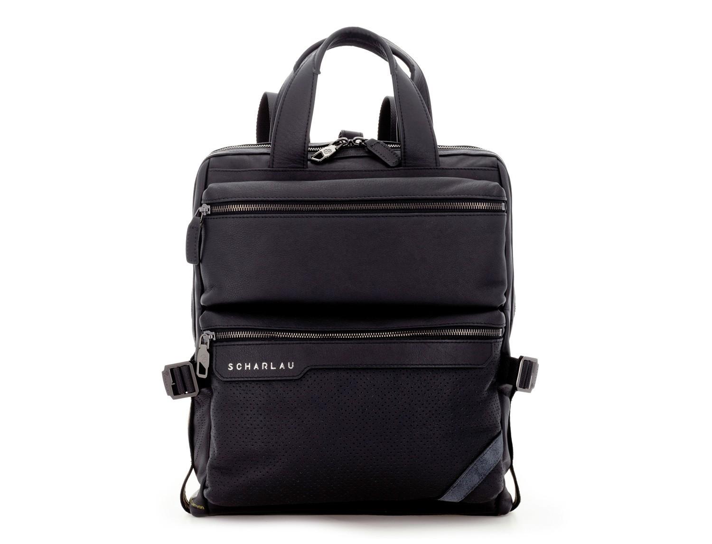 bolso convertible en mochila de cuero para portátil negro frontal