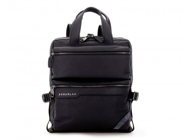 leather bag and backpack for laptop black front