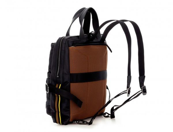 bolso convertible en mochila de cuero para portátil negro detrás