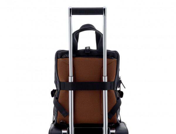 bolso convertible en mochila de cuero para portátil negro trolley