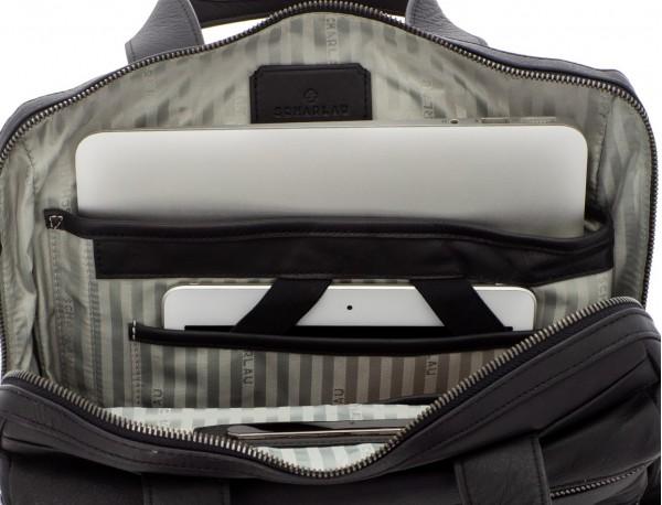 bolso convertible en mochila de cuero para portátil negro interior