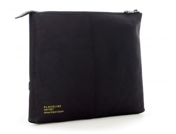leather portfolio black  side