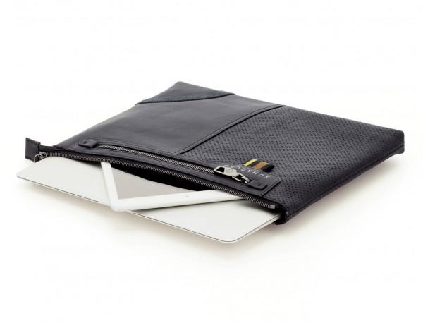 portadocumentos de cuero negro portátil