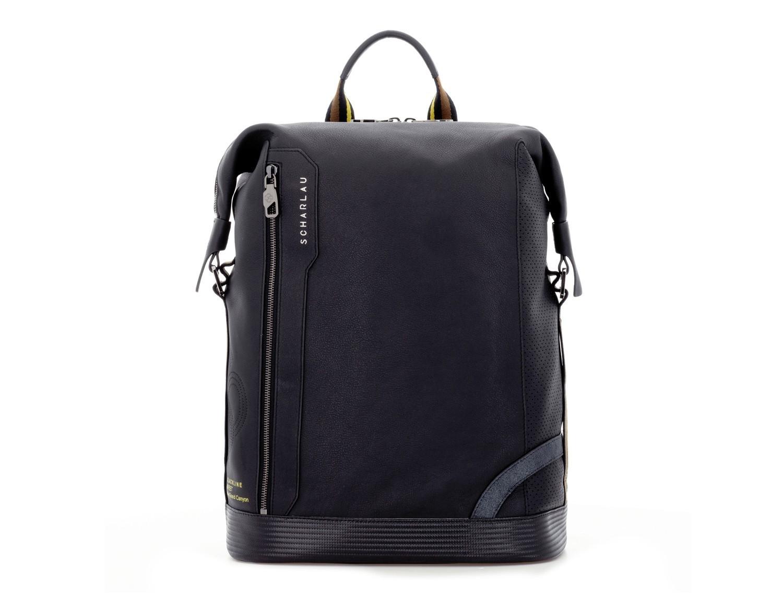 leather black backpack front