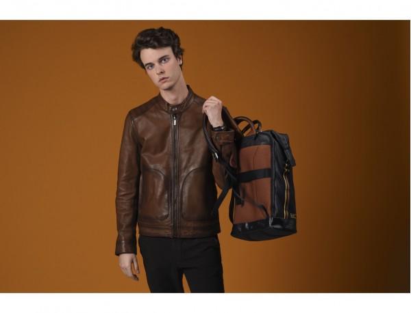 leather black backpack model