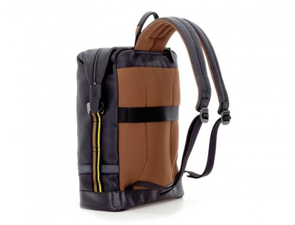 leather black backpack back