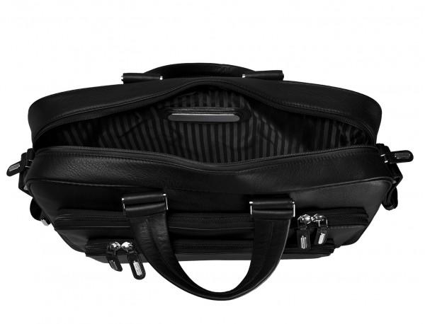 maletin ejecutivo de cuero en color todo negro placa personalizada