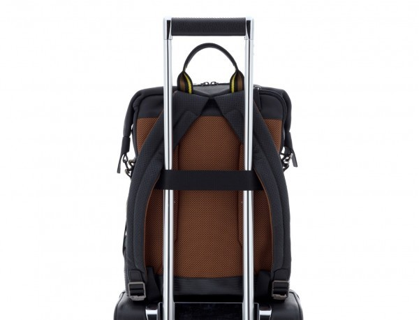 leather black backpack trolley