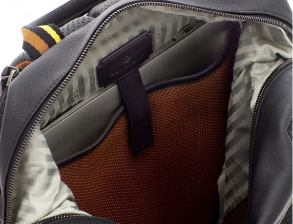 leather black backpack laptop