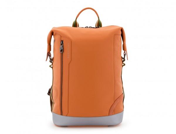 mochila de cuero naranja frontal