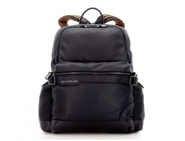 leather laptop backpack front