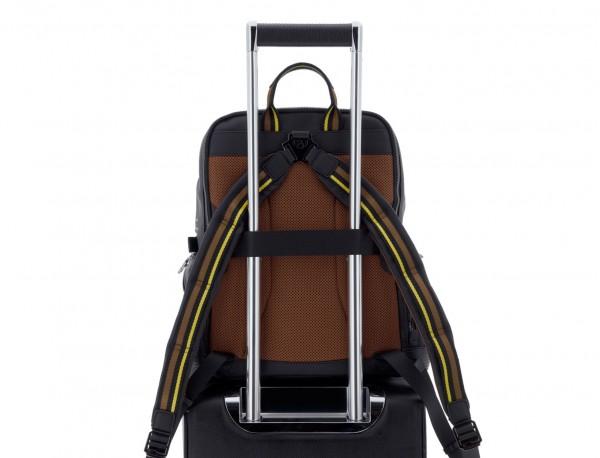 mochila de cuero para caballero negra trolley