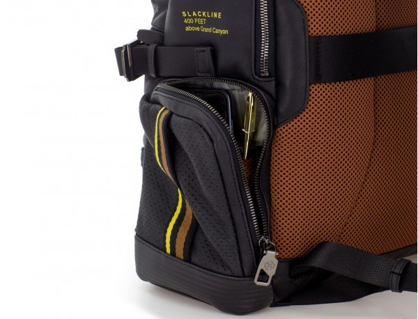 leather laptop backpack side