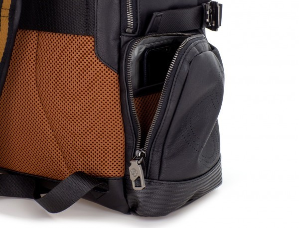 leather laptop backpack compartment