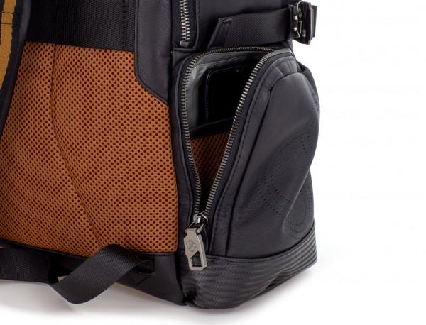 mochila de cuero para caballero negra lateral