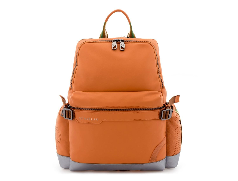 leather laptop backpack orange front