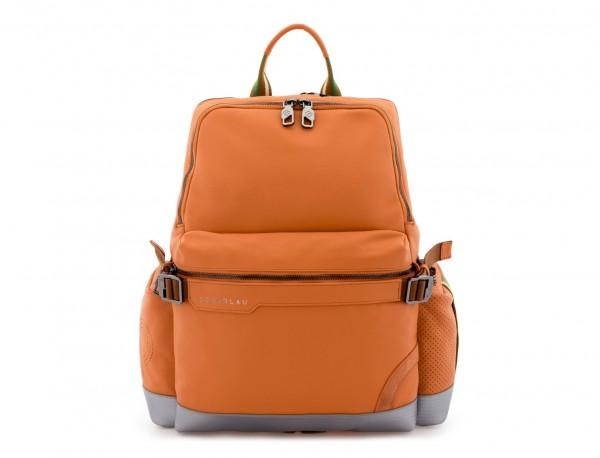 mochila de cuero para caballero naranja frontal