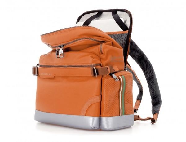 leather laptop backpack orange open