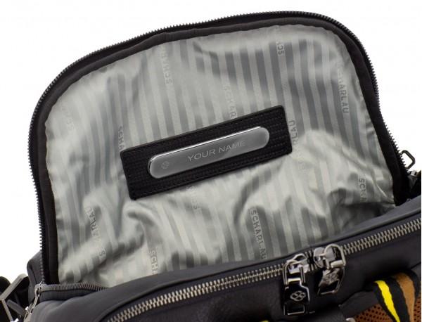 leather laptop backpack orange personalized