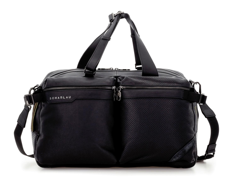 leather travel weekender bag black front