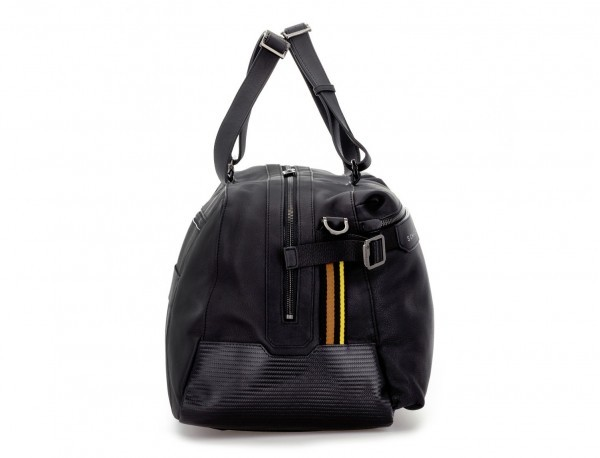 leather travel weekender bag black side