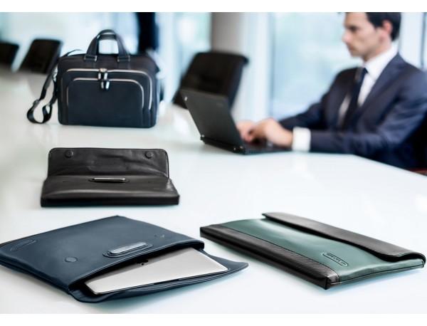 "Leather laptop sleeve 15.6"" inch black lifestyle"