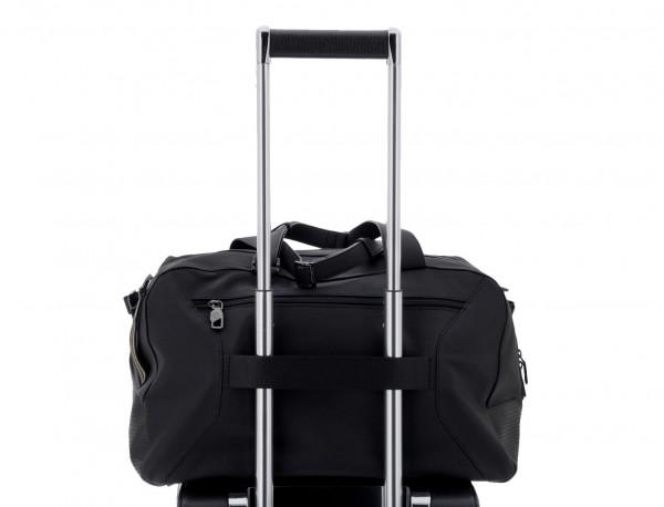 leather travel weekender bag black trolley