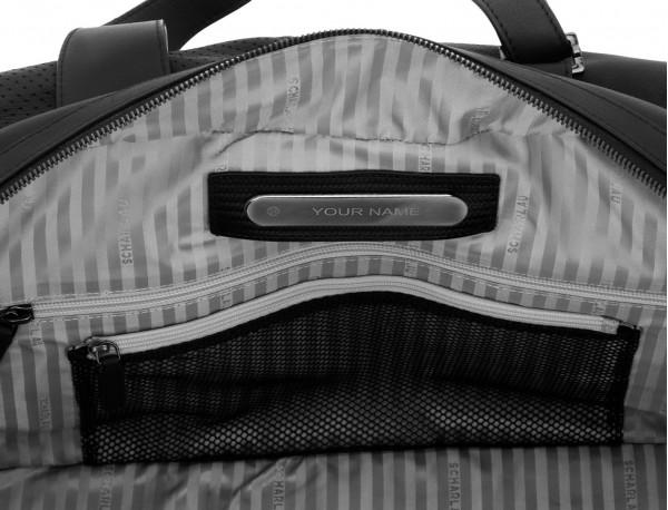 bolsa de viaje de mano de cuero negro personalizada