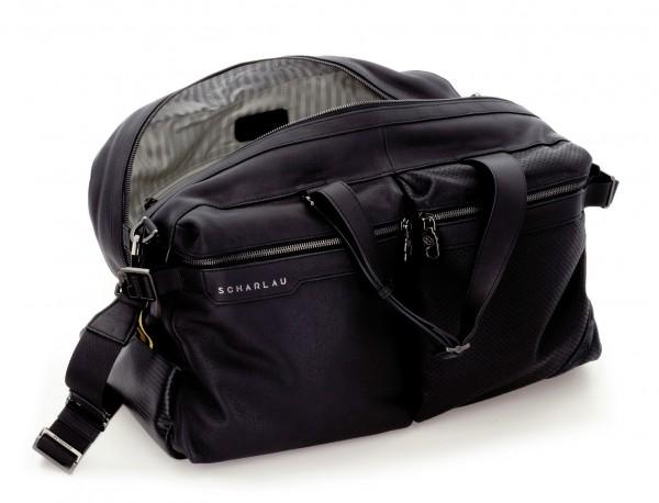 leather travel weekender bag black interior