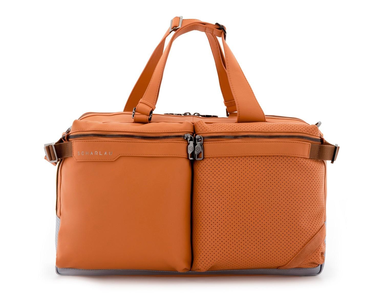 leather travel weekender bag orange front