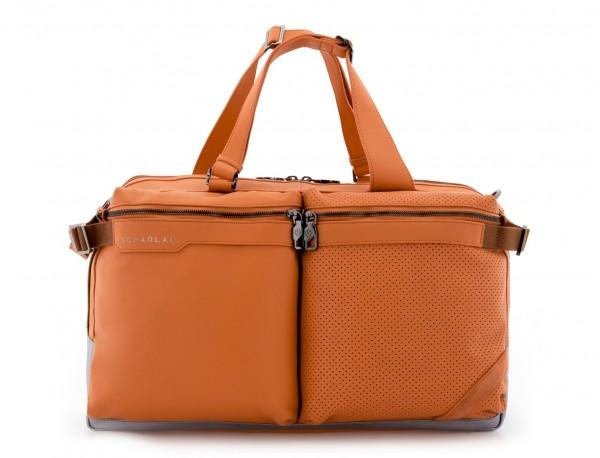 Borsone di viaggio in pelle arancia front