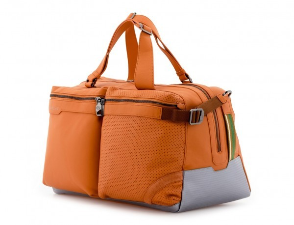 bolsa de viaje de mano de cuero naranja lado
