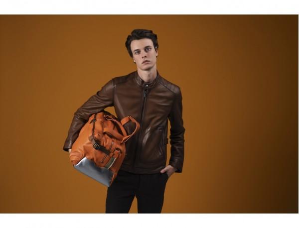 leather travel weekender bag orange  model