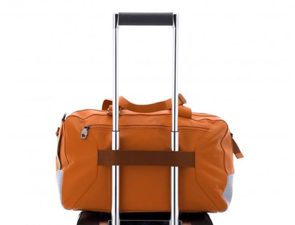bolsa de viaje de mano de cuero naranja trolley