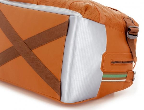 leather travel weekender bag orange  base