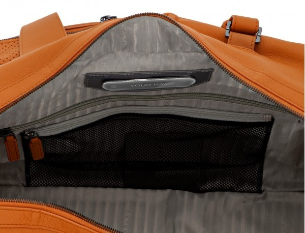 leather travel weekender bag orange personalized