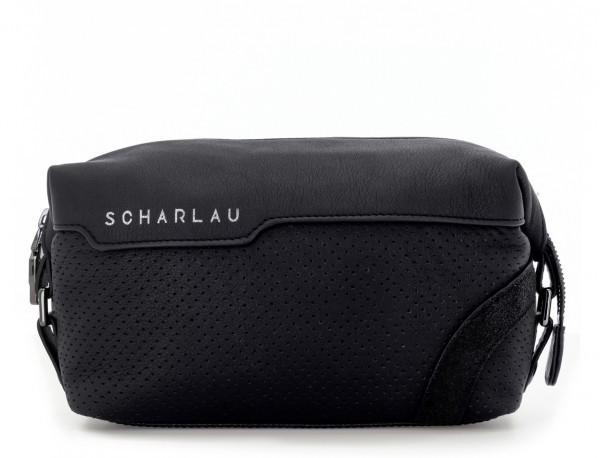 Leather small toiletry bag black front