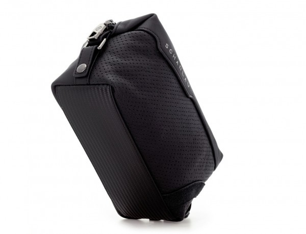 Leather small toiletry bag black base