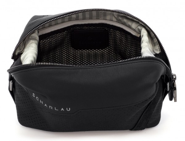 Leather small toiletry bag black open